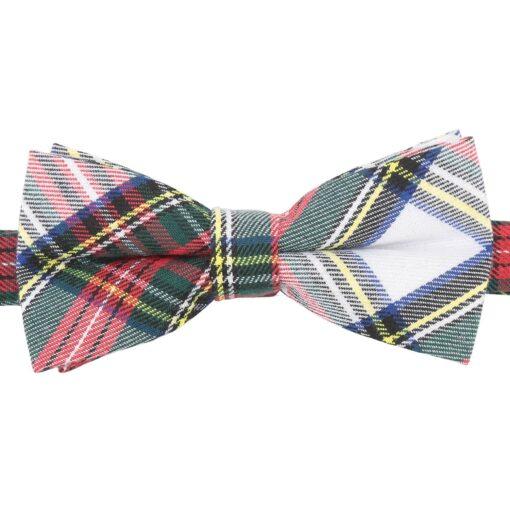 White Tartan Plaid Bow Tie