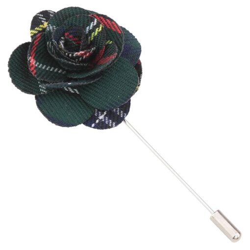 Green Tartan Plaid Lapel Pin