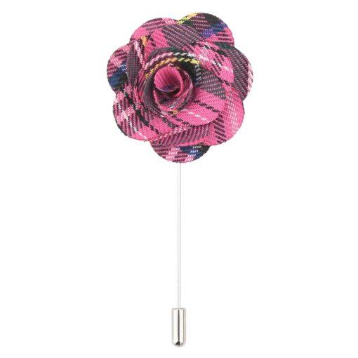 Pink Tartan Plaid Lapel Pin