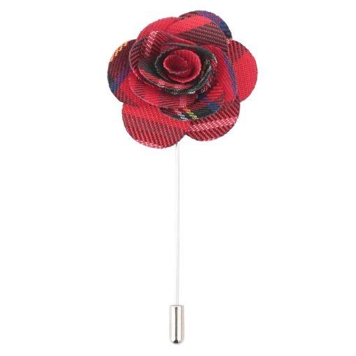 Red Royal Stewart Tartan Plaid Lapel Pin