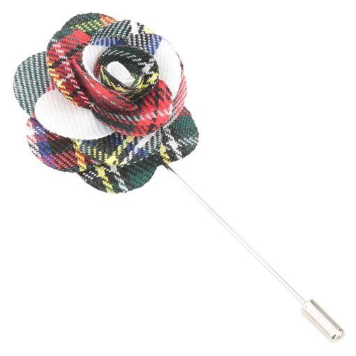 White Tartan Plaid Lapel Pin