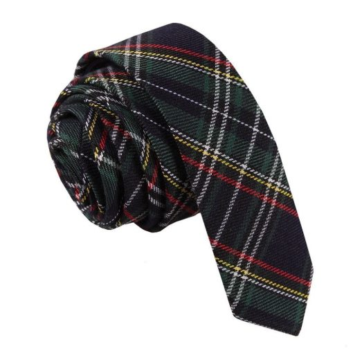 Black & Green with Thin Stripes Tartan Skinny Tie