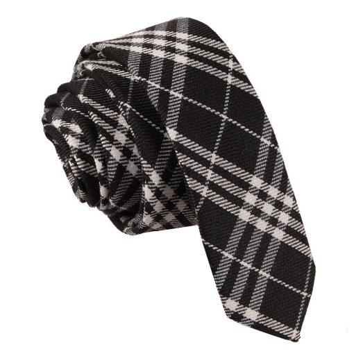 Black & White Tartan Skinny Tie