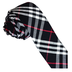 Black & White with Red Tartan Skinny Tie