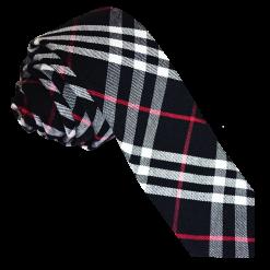 Black & White with Red Tartan Skinny Tie