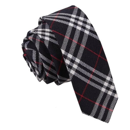 Navy & White with Red Tartan Skinny Tie