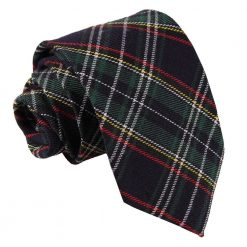 Black & Green with Thin Stripes Tartan Classic Tie