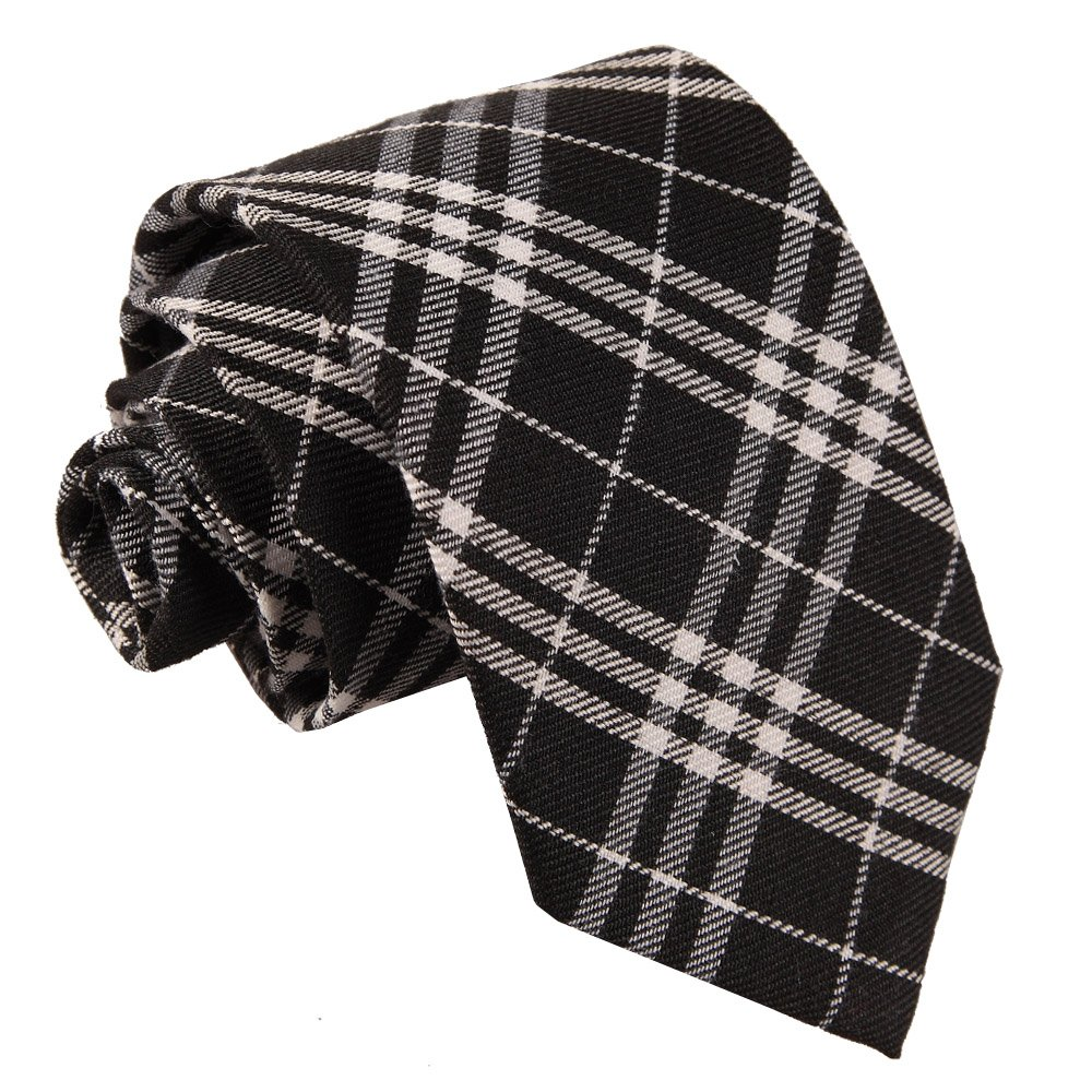 Men S Tartan Black Amp White Tie