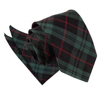 Black & Green with Red Tartan Tie & Pocket Square Set