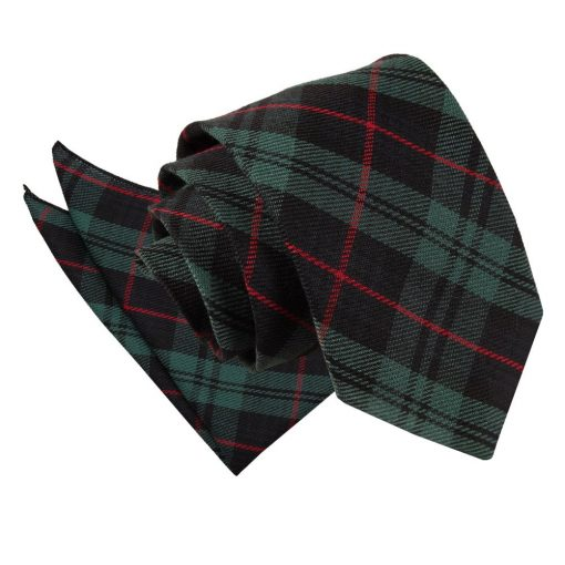 Black & Green with Red Tartan Tie & Pocket Square Set
