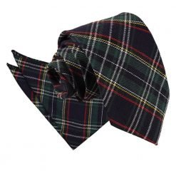 Black & Green with Thin Stripes Tartan Tie & Pocket Square Set