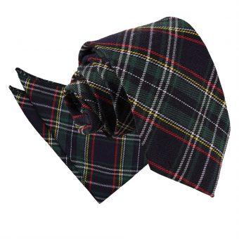 Black & Green with Thin Stripes Tartan Tie & Pocket Square Set
