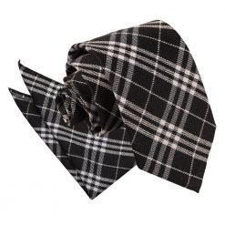 Black & White Tartan Tie & Pocket Square Set