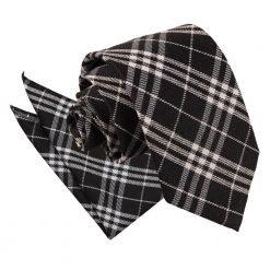 Black & White Tartan Tie & Pocket Square Set
