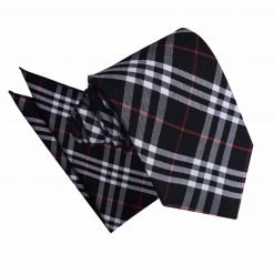 Black & White with Red Tartan Tie & Pocket Square Set