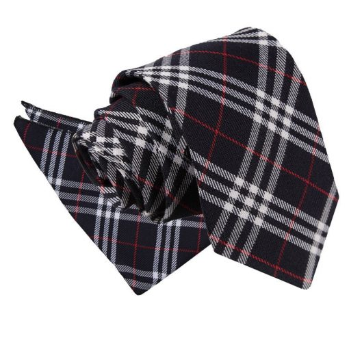 Navy & White with Red Tartan Tie & Pocket Square Set