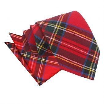 Red Royal Stewart Tartan Tie & Pocket Square Set