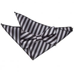 Black & Grey Thin Stripe Bow Tie & Pocket Square Set