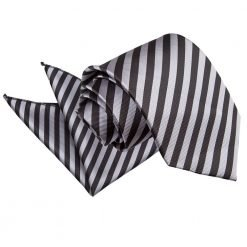 Black & Grey Thin Stripe Tie & Pocket Square Set