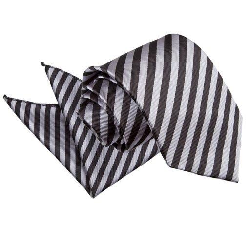 Black & Grey Thin Stripe Tie & Pocket Square Set