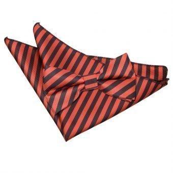 Black & Red Thin Stripe Bow Tie & Pocket Square Set