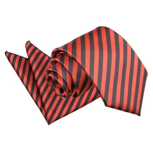 Black & Red Thin Stripe Tie & Pocket Square Set