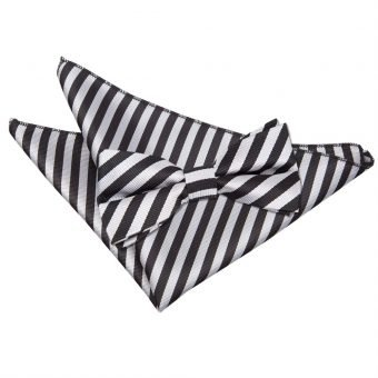 Black & Silver Thin Stripe Bow Tie & Pocket Square Set