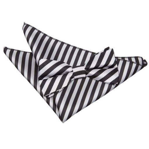 Black & Silver Thin Stripe Bow Tie & Pocket Square Set