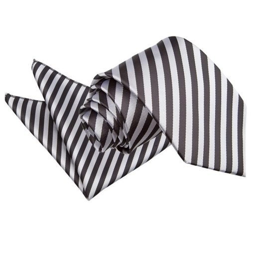 Black & Silver Thin Stripe Tie & Pocket Square Set