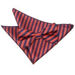 Navy Blue & Red Thin Stripe Bow Tie & Pocket Square Set