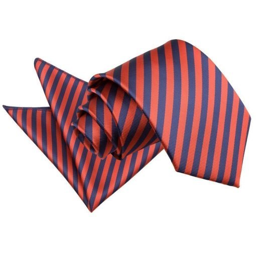 Navy Blue & Red Thin Stripe Tie & Pocket Square Set