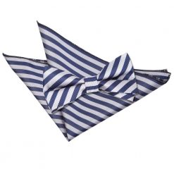 Navy Blue & Silver Thin Stripe Bow Tie & Pocket Square Set