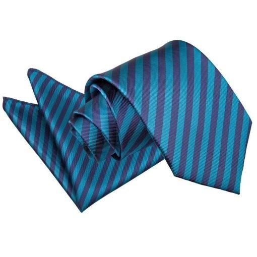 Navy Blue & Teal Thin Stripe Tie & Pocket Square Set