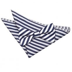 White & Navy Blue Thin Stripe Bow Tie & Pocket Square Set