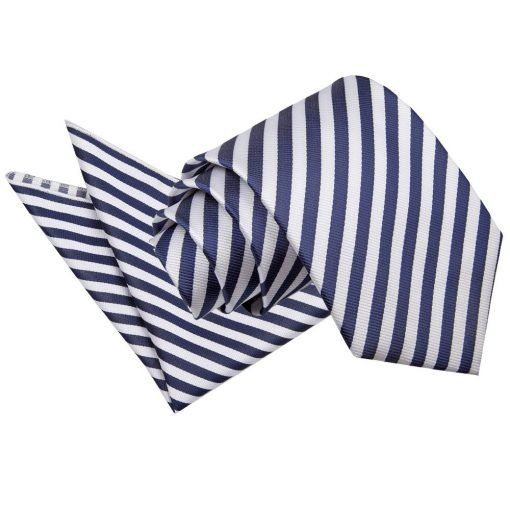 White & Navy Blue Thin Stripe Tie & Pocket Square Set