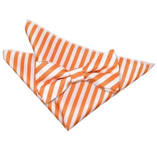 White & Orange Thin Stripe Bow Tie & Pocket Square Set
