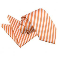 White & Orange Thin Stripe Tie & Pocket Square Set