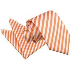 White & Orange Thin Stripe Tie & Pocket Square Set