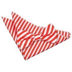 White & Red Thin Stripe Bow Tie & Pocket Square Set