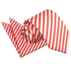 White & Red Thin Stripe Tie & Pocket Square Set