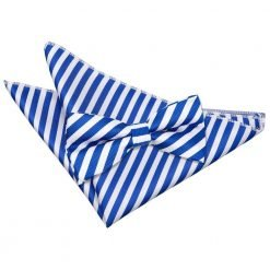 White & Royal Blue Thin Stripe Bow Tie & Pocket Square Set