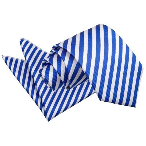White & Royal Blue Thin Stripe Tie & Pocket Square Set