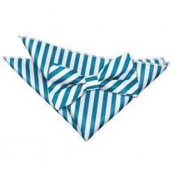 White & Teal Thin Stripe Bow Tie & Pocket Square Set