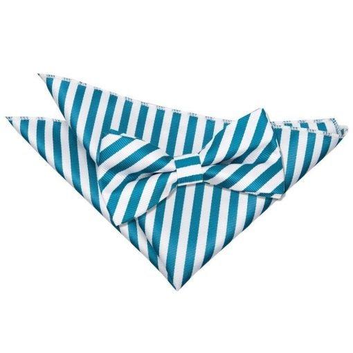 White & Teal Thin Stripe Bow Tie & Pocket Square Set