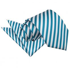 White & Teal Thin Stripe Tie & Pocket Square Set
