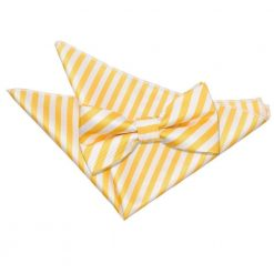 White & Yellow Thin Stripe Bow Tie & Pocket Square Set