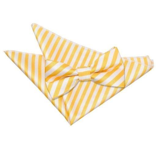 White & Yellow Thin Stripe Bow Tie & Pocket Square Set