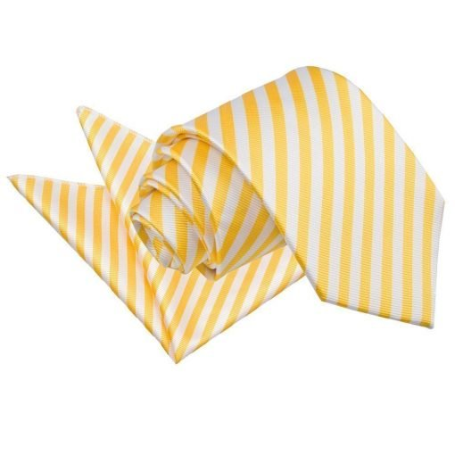 White & Yellow Thin Stripe Tie & Pocket Square Set