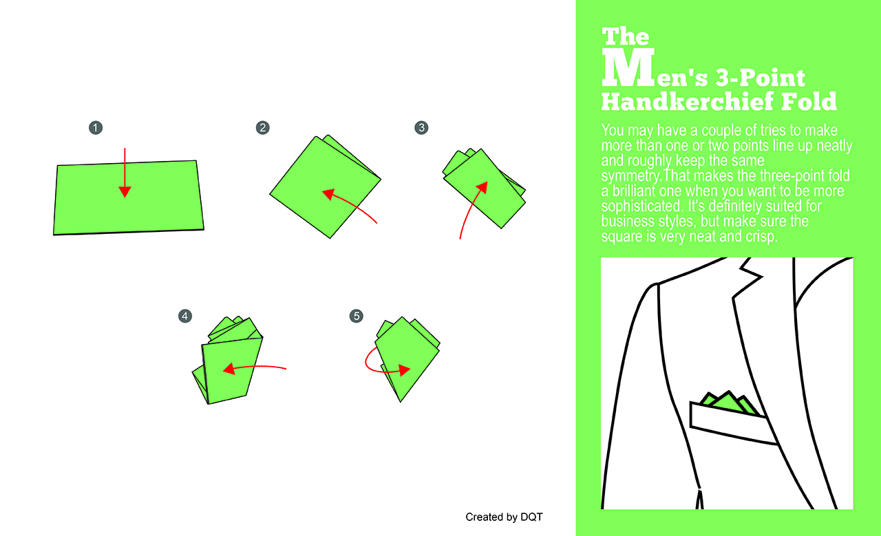 How To Fold a Three-Point Handkerchief (2 of 11) by DQT