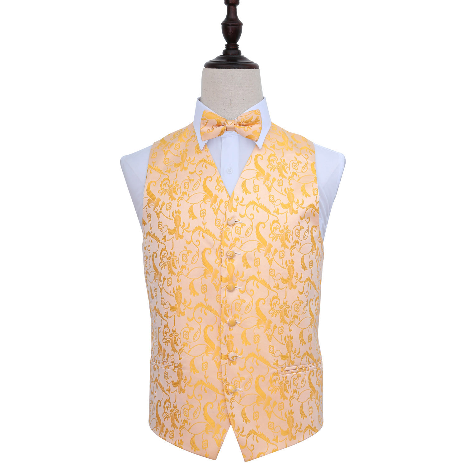 Passion Gold Wedding Waistcoat & Bow Tie Set 36